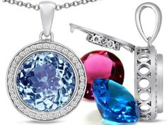 Switch-It Gems(tm) Round 12mm Simulated Aquamarine Pendant with 12 Interchangeable Simulated Birthstones in 925 Sterling Silver Switch-It Gems. $269.99. Guaranteed Authentic from the Switch It Gems designer line. Switch-It Gem(tm) Designs are protected by US Copyright and Patent Laws. All original Switch-it gems products come with a free limited Lifetime Warranty.. Free Chain in a matching metal will be included. 12 Simulated interchangeable Birthstones Included