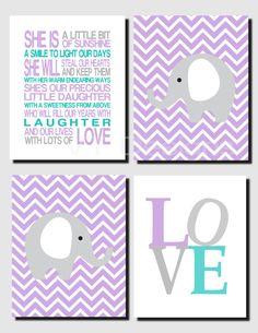 Purple Gray Teal Nursery Art, Baby Girl Nursery, Kids Wall Art, Love, Elephants, Our Daughter, Girls Nursery Decor, Set of 4, Art Prints by vtdesigns on Etsy