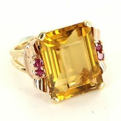 Vintage 14 Karat Yellow Rose Gold Citrine Ruby Cocktail Ring Fine Estate Jewelry  $695