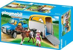 SUV with Horse Trailer by Playmobil. $49.25. Head out on the road with your champion horse to the next horse show with the SUV with Horse Trailer. Horse trailer can comfortably accommodate one horse, which can trot onboard via the hinging trailer ramp. Both the SUV and trailer also have a removable roof for easy access to the interiors. Set includes one figure, one horse with saddle and reigns, and other accessories.
