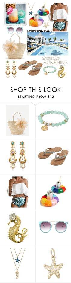 """""""Pool Drink Floats"""" by linmari ❤ liked on Polyvore featuring WithChic, Wish Upon A Rock, Ben-Amun, M&Co, ban.do, Floats, Sugar NY and Rembrandt Charms"""