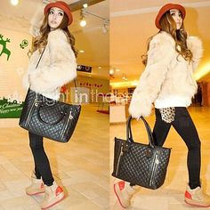Women's PU Leather Quilted Check Pattern Twin Zipper Shoulder Bag Totes - USD $ 19.39