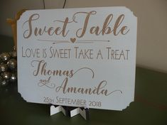 Personalised Sweet Table Sign, Wooden Candy Bar Wedding Sign, Love Is Sweet Take A Treat Plaque, Sweetie Candy Buffet Candy Bar Wedding, Wedding Props, Wedding Signs, Sweetie Table Wedding, Wedding Table, Wedding Planning Checklist, One Fine Day, Table Signs, Candy Buffet