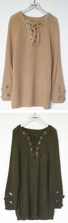 Feeling as fresh as you look with the lace up sweater! This sweater won't press your buttons rather it will impress them!! This slightly long sweater is so soft and snuggly! Shorter Shipping Time. Find your favorite at  Cupshe.com !