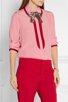 Gucci | Grosgrain-trimmed silk crepe de chine blouse | NET-A-PORTER.COM