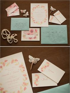 Watercolor wedding invitation suite. Stationery: One Handspun Day #weddingchicks http://www.weddingchicks.com/2014/06/16/these-vintage-dresses-will-captivate-your-romantic-side/