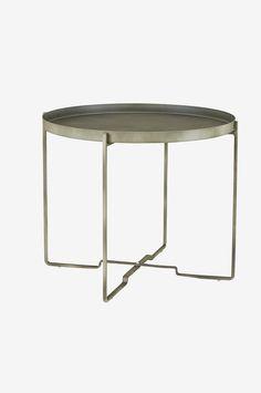 Sohvapöytä, jossa irrotettava tarjotin. Kokoontaittuva jalusta. Metallia. ø 57 cm. K 48 cm.