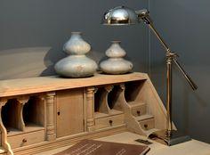 Bureaulamp Forli in nickel uitvoering.