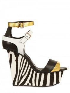 Diego Dolcini Gold Laminated Leather & Ponyskin Wedge #shoes #wedges #zebra