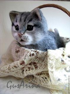 Котенок Кузенька - котенок,котенок из шерсти,котенок валяный,кот в подарок