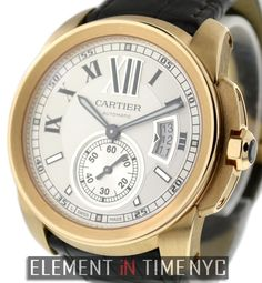 Cartier Calibre 42mm iN 18k Rose Gold With A Silver Roman Dial (W7100009)