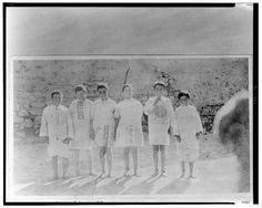 Near East Relief: Orphans of the Armenian Genocide clothed in American flour sacks.