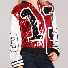 Sequined Jacket features White Sleeves and Red Body accents. Glossier Girl, Delta Sigma Theta, Sequin Jacket, Line Jackets, Greek Paraphernalia, Sequins, Zipper, Sorority