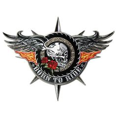 WINGED SKULL BORN TO RIDE FLAMING WINGS TATTOO BIKER JACKET RIDER VEST PATCH…