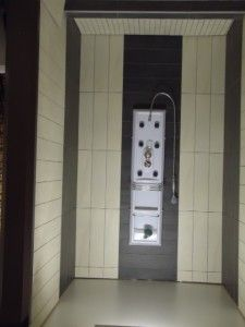 Floor to ceiling shower tiles. Shower Tiles, Shower Floor, Tile Floor, Extractor Fans, Small Tiles, Shower Cubicles, Built In Bench, Home Reno, Bathrooms