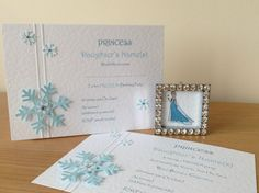 10 Handmade Frozen Snowflakes Birthday Invitations Wedding Christening Christmas