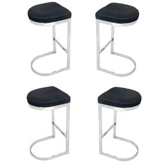 Set of Four Chrome Bar Stools in the Manner of Milo Baughman