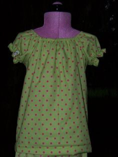 green and pink polka dot custom boutique DM peasant top