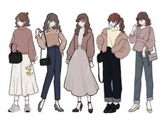 Cute Art Styles, Cartoon Art Styles, Fashion Design Drawings, Fashion Sketches, Anime Outfits, Mode Outfits, Character Outfits, Character Art, Drawing Anime Clothes