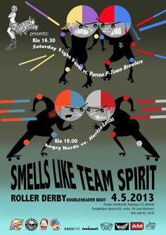 Helsinki Roller Derby poster by Elina Minn