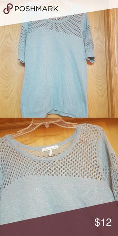 *Sale* Short Sleeve Gray/Light Green Shirt Sparkle thread adds some shimmer to this top. Worn one time. Loose fitting and comfortable. French Connection Tops Blouses