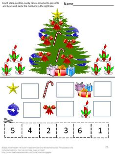 Christmas Fun Cut and Paste Worksheets, P-K, K, Special Education, Autism Christmas Puzzle, Christmas Math, Preschool Christmas, Christmas Activities, Christmas Themes, Christmas Crafts, Winter Activities, Math Literacy, Math Activities