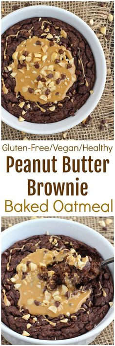 Peanut Butter Brownie Baked Oatmeal - Perfectly rich and full of peanut butter flavor, this Peanut Butter Brownie Baked Oatmeal is like having dessert for breakfast! Gluten-free, dairy-free and vegan Paleo Dessert, Gluten Free Desserts, Dairy Free Recipes, Vegan Desserts, Vegan Recipes, Cooking Recipes, Vegan Ideas, No Bake Brownies, Peanut Butter Brownies