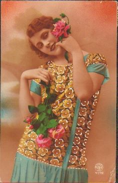 Old Vintage Postcard Art Deco Colored Woman Fashion Flower Kitsch 1926 PK 33 | eBay