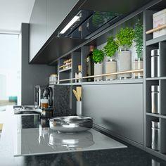 Wizualizacja kuchni z okapem do zabudowy Loteo Grey 1