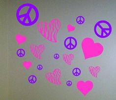 Peace Signs and Hearts Wall Decal by BigDDesign on Etsy, $13.00