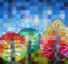 Loretta Grayson и её мозаичные рисунки с радужными деревьями