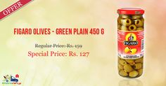 #Figaro #Olives #Green #Plain 450GM @ Special Price - Rs.127 on Kiraanastore.