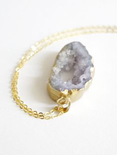 Gold Coated Purple Agate Slice Raw Necklaces by VermeerJewellery