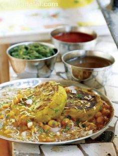 Ragda Pattice by Tarla Dalal, combination of tasty pattice, chutneys, chopped onions, masala and coriander.