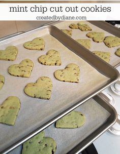 mint chip cut out cookies createdbydiane.com Mint Chocolate Chips, Chocolate Chip Cookies, Cut Out Cookies, Gingerbread Cookies, Cookie Cutters, Sprinkles, Cupcakes, Sweet, Delish