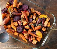 Maple Balsamic Roasted Winter Vegetables - Roasted winter vegetables are lightly glazed with maple syrup and balsamic vinegar for a delicious side dish elegant enough for any holiday table.