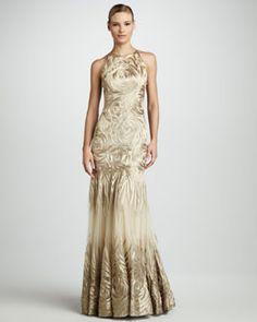 T59U6 Naeem Khan Rose-Pattern Gown