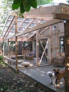 Here's something to add to the list of awesome things you can build for your cat: a catio. It's a portmanteau of cat + patio, and it's an enclosed outdoor space that lets your cat enjoy the great outdoors, without the attendant risks. If you've got the DI Outdoor Cat Enclosure, Cat Run, Cat Condo, Outdoor Cats, Outdoor Spaces, Outdoor Living, Outdoor Kitchens, Backyard Fences, Yard Fencing