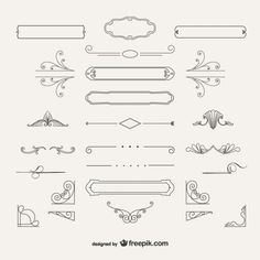 Variedade de decorações ornamentais Vetor grátis