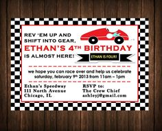 Printable, customized race car - racecar birthday party invitation / invite