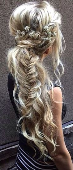 Messy hair with fishtail braids #gorgeoushair