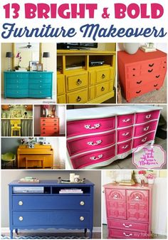 13 Bright and Bold Furniture Makeovers | Painted Furniture | Funky & Fresh | Chalk Paint | Repurposed DIY