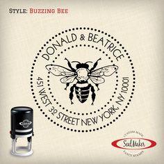 "Custom Self-Inking Address Stamp - ""Buzzing Bee"" by SealMaker on Etsy https://www.etsy.com/listing/201198381/custom-self-inking-address-stamp-buzzing"