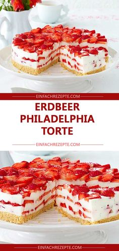 Erdbeer-Philadelphia-Torte 😍 😍 😍 cookies and cream cookies christmas cookies easy cookies keto cookies recipes easy easy recipe ideas no bake Easy Cheesecake Recipes, Easy Cookie Recipes, Easter Recipes, Brownie Recipes, Food Cakes, Bolo Cookies And Cream, Philadelphia Torte, Easy Vanilla Cake Recipe, Chocolate Cookie Recipes