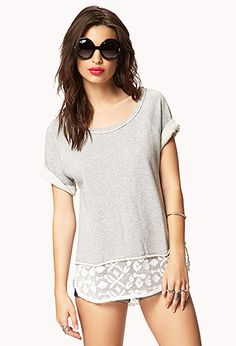 I love the idea of refashioning an old sweatshirt with lace, but I'm not really into the sunglasses...