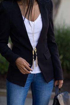 blazer, tee & gold tassels