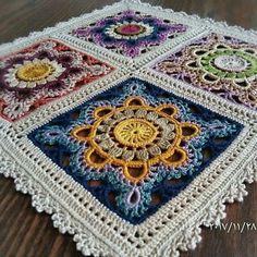 Crochet Motifs, Granny Square Crochet Pattern, Crochet Blocks, Crochet Art, Crochet Squares, Crochet Blanket Patterns, Crochet Granny, Crochet Doilies, Crochet Stitches