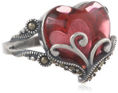 Sterling Silver Oxidized Marcasite and Garnet Colored Glass Filigree Heart Ring, Size 7 Amazon Curated Collection,http://www.amazon.com/dp/B00E191UMS/ref=cm_sw_r_pi_dp_vFhqsb171RY0394X