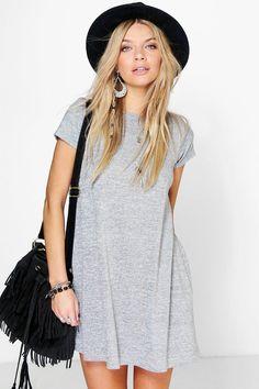 Amber Short Sleeve Knitted Swing Dress