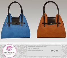 This beautiful handbag is perfect for any lady with a sense of style and class. Available in either blue or brown at your nearest store. Beautiful Handbags, Africa, Blush, Store, Lady, Brown, Accessories, Nice Purses, Blushes